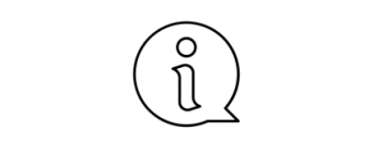 Essential information icon - speech bubble with 'i'