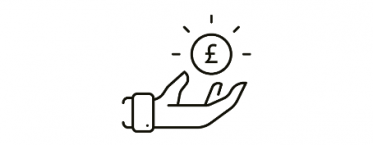 Financial support icon - Hand with coin